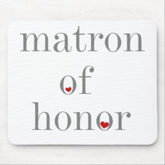 Matrona gris del texto del honor tapetes de ratones