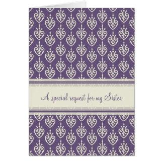 Matrona púrpura de la hermana de la tarjeta de la