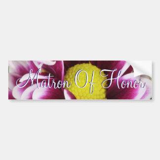 Matrona púrpura del ramo del honor etiqueta de parachoque