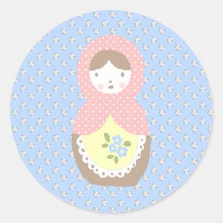 Matroschka bordadora ♥ pegatina redonda