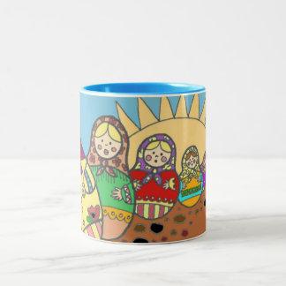 Matroshka Nesting Dolls Ukrainian Folk Art Two-Tone Coffee Mug