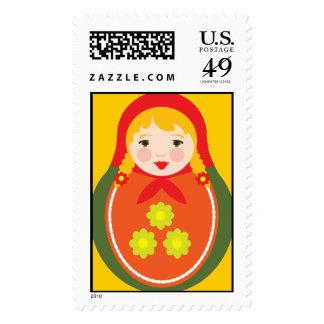 Matroyshka Russian Nesting Dolls Postage Stamps
