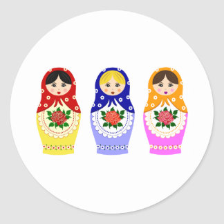 Matryoschka dolls classic round sticker