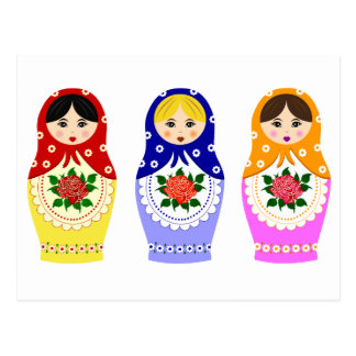 Matryoschka dolls postcard