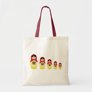 Matryoschka dolls red canvas bag