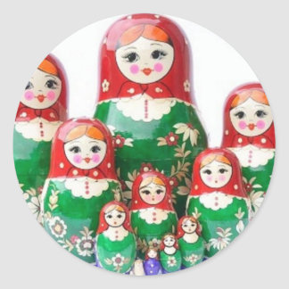 Matryoshka - матрёшка (muñecas rusas) pegatina redonda