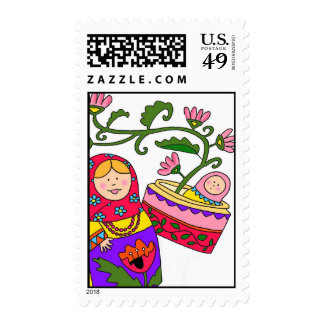 matryoshka and baby colour postage stamp
