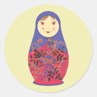 Matryoshka Doll 2 ~ Russian / Babushka Nesting Round Sticker