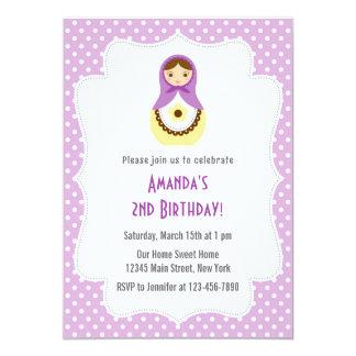 Matryoshka Doll Birthday Invitation (Purple)