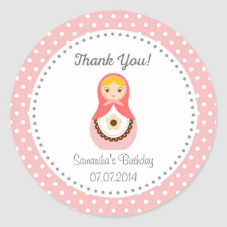Matryoshka Doll Birthday Thank You Sticker