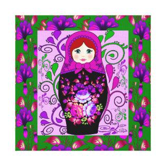 matryoshka doll stretched canvas print
