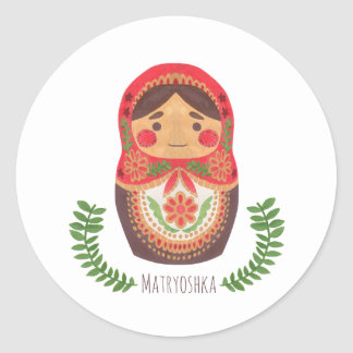 Matryoshka Doll Classic Round Sticker