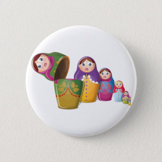 Matryoshka doll - Russian Nested Dolls Pattern Pinback Button