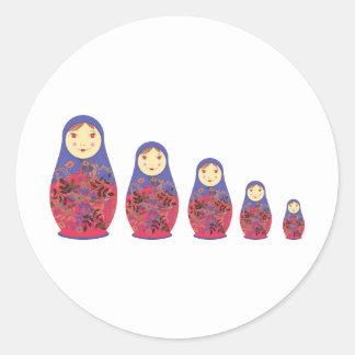 Matryoshka Doll ~ Russian Nesting / Babushka Round Stickers
