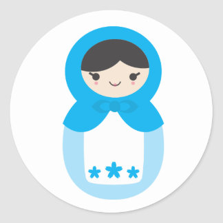 Matryoshka Doll - Sweet Blue Classic Round Sticker