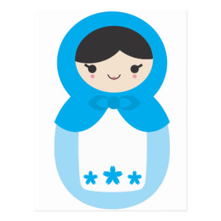 Matryoshka Doll - Sweet Blue Postcard
