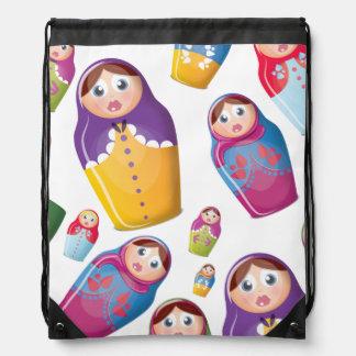 Matryoshka Dolls , Nesting Russian Dolls. Drawstring Backpacks