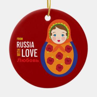 Matryoshka From Russia With Love Adoption Keepsake Double-Sided Ceramic Round Christmas Ornament