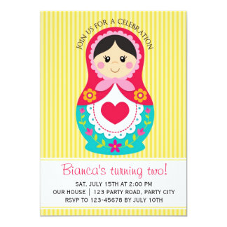 Matryoshka Invitation - Russian Doll Girl Birthday