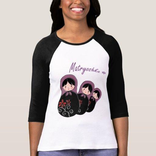 Matryoshka Ladies 3/4 Sleeve Raglan T-shirt