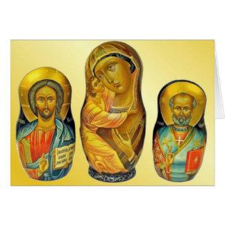 Matryoshka nativity figures card