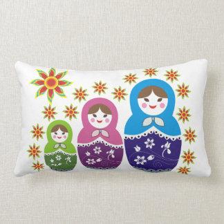 Matryoshka Russian dolls & sunflowers custom Lumbar Pillow