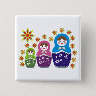 Matryoshka Russian dolls & sunflowers custom Pinback Button