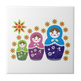 Matryoshka Russian dolls & sunflowers custom Tile