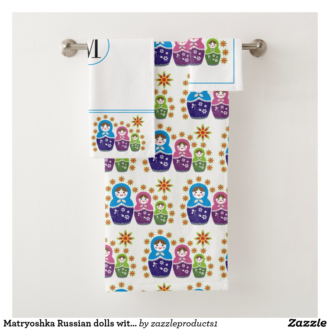 Matryoshka Russian dolls with monogram Bath Towel Set