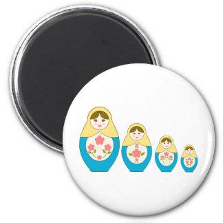 Matryoshka Russian Nesting Dolls 2 Inch Round Magnet