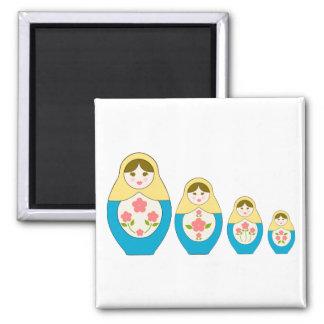 Matryoshka Russian Nesting Dolls 2 Inch Square Magnet