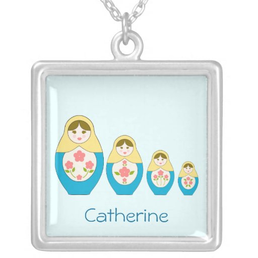Matryoshka Russian Nesting Dolls Square Pendant Necklace