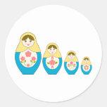 Matryoshka Russian Nesting Dolls Round Sticker