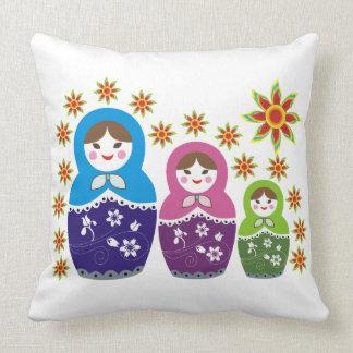 Matryoshka Russian nesting dolls & sunflowers Throw Pillow