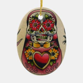 matryoshka sugar skull ornament