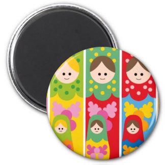 MatryoshkaBookmark 2 Inch Round Magnet
