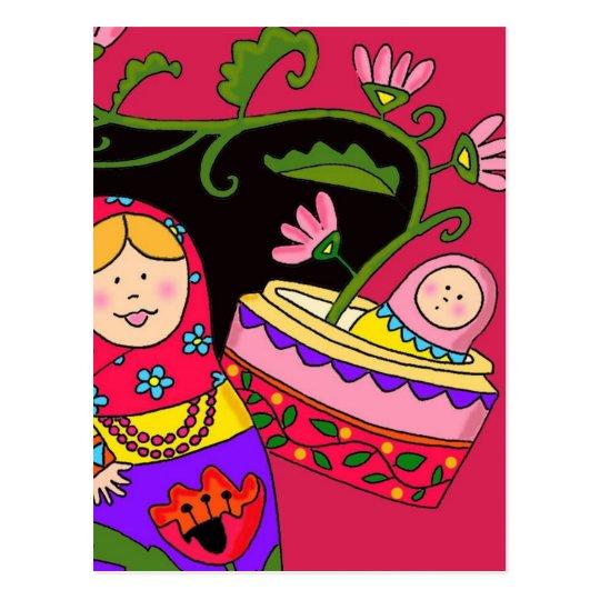 Matryoshka's Baby Ukrainian Folk Art Postcard