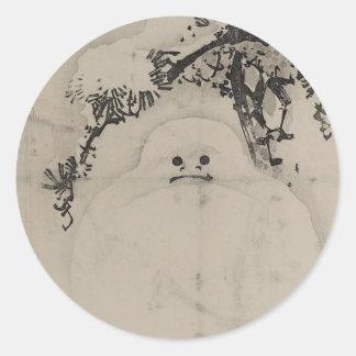 Matsu ni yukidaruma classic round sticker