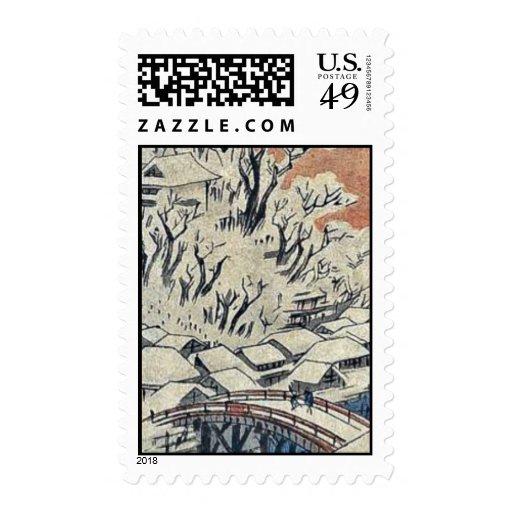 Matsuchiyama, after snow by Ando,Hiroshige Stamps