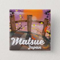 Matsue Japanese blossom poster. Button