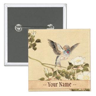 Matsumoto Keibun Bird and Flower Album Zebra Finch 2 Inch Square Button