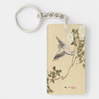 Matsumoto Keibun Bird and Flower Album Zebra Finch Double-Sided Rectangular Acrylic Keychain