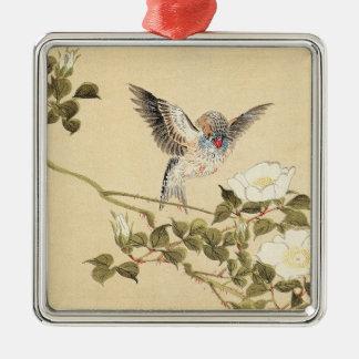 Matsumoto Keibun Bird and Flower Album Zebra Finch Metal Ornament