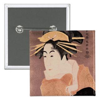 Matsumoto Yonesaburo in the role of the courtesan 2 Inch Square Button