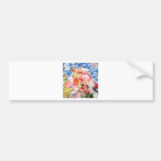 Matsuyama castle and flower and invitation cat bumper sticker