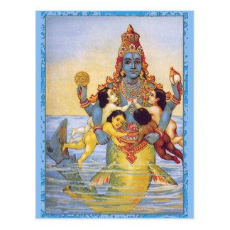 Matsya con el Vedas como niños Postales