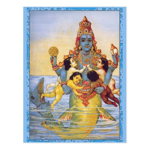 Matsya with the Vedas as Infants Post Cards