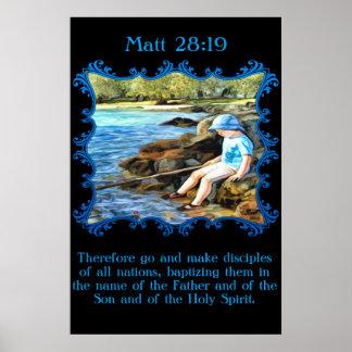 Matt 28:19 Baby boy fishing in the river. Poster