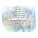 Matt 6:33 Seek Ye First God Bible Scripture Postcard