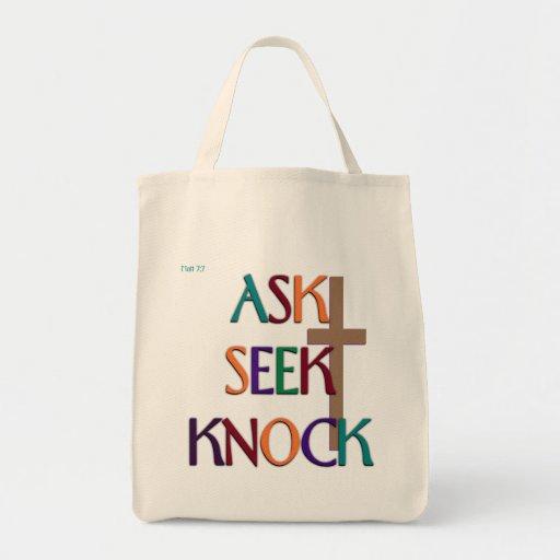 Matt 7:7 customizable christian gift canvas bag